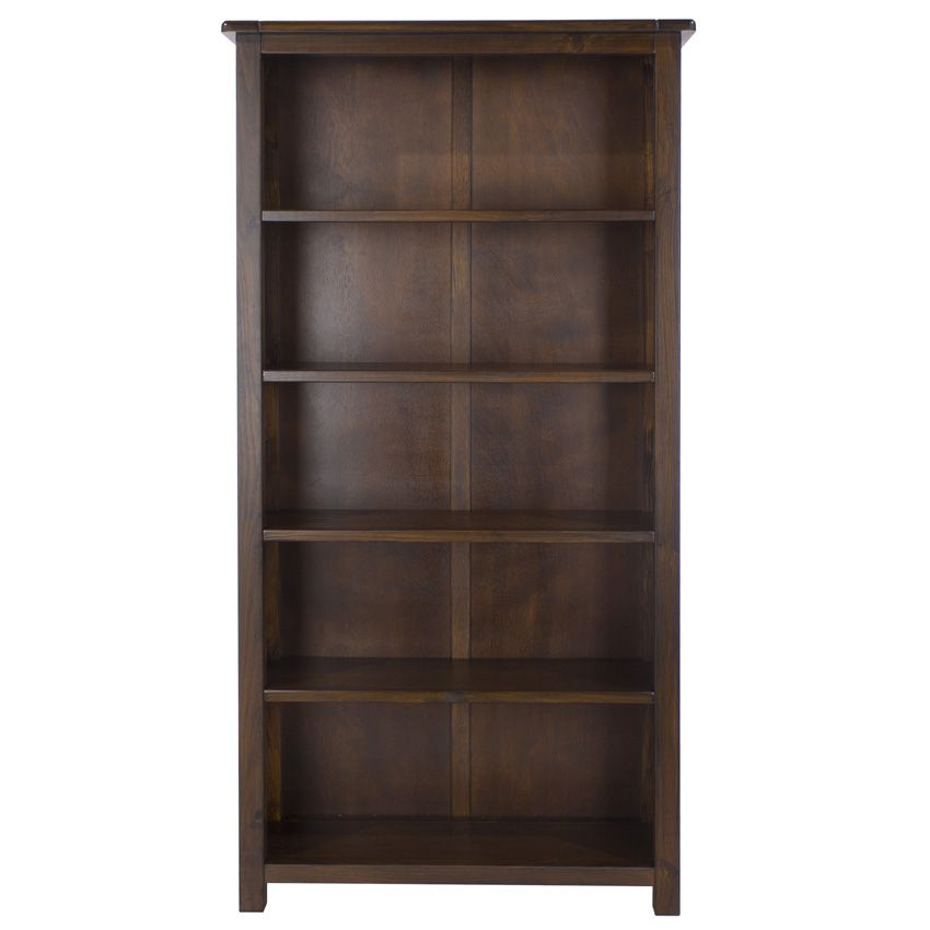 Boston Tall Dark Pine Bookcase With Adjustable Shelves