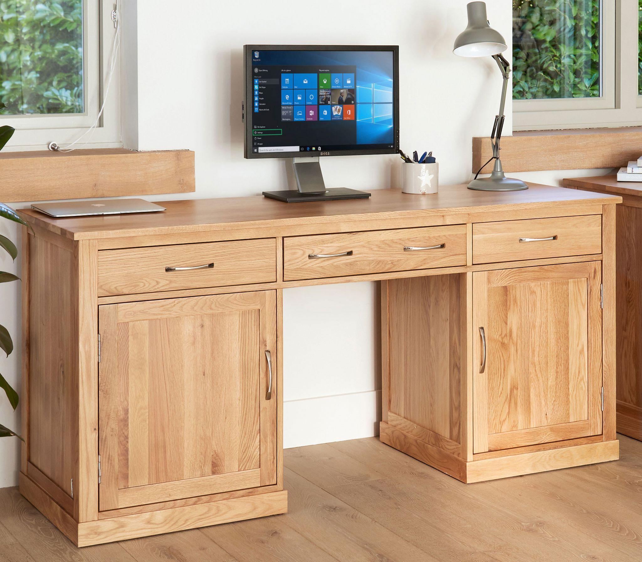 Mobel Oak Large Hidden Office Twin Pedestal Desk Solid