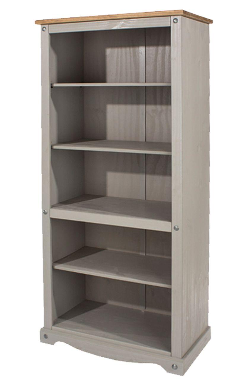 Corona Grey Wash Tall Bookcase With 5 Shelves And Natural