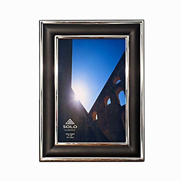 Black Photo Frame with Silver Plated Edging in Four Sizes
