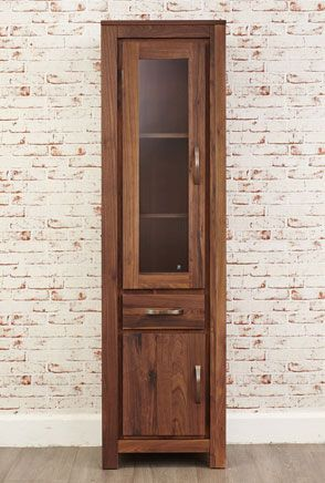 Bon Mayan Walnut Half Glazed Narrow Cabinet And Antique Bronze Handles.