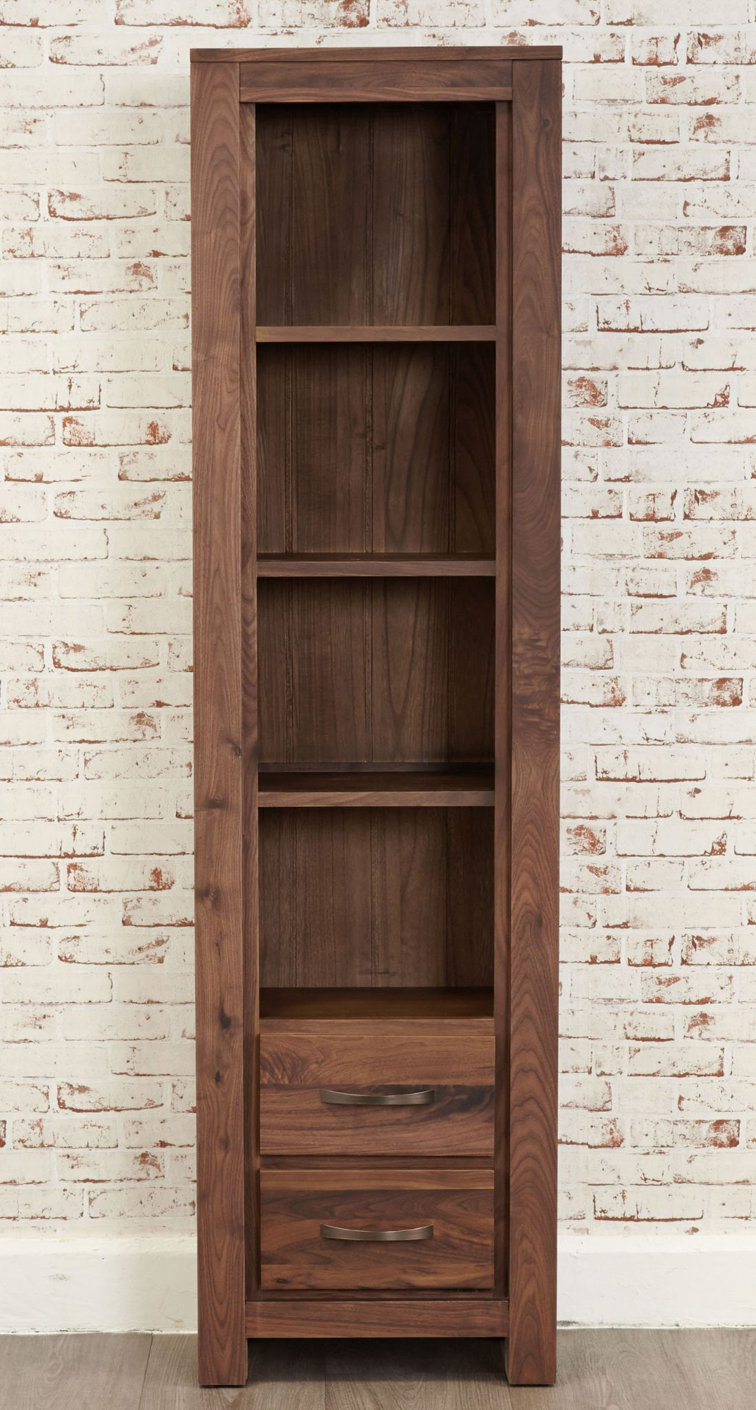 Mayan walnut tall narrow bookcase