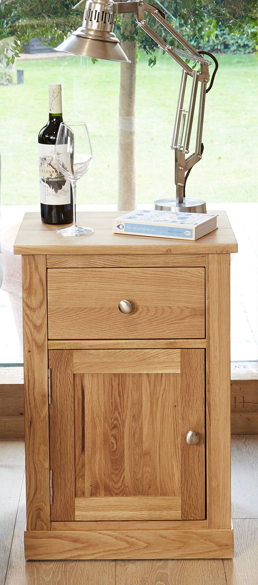 mobel solid oak 1 door lamp table or bedside with drawer and single cupboard with shelf
