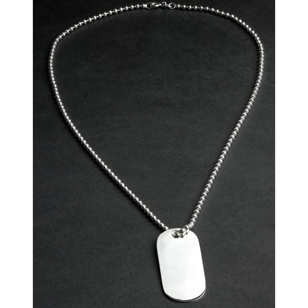 Sterling Silver ID Necklace with Engravable Tag