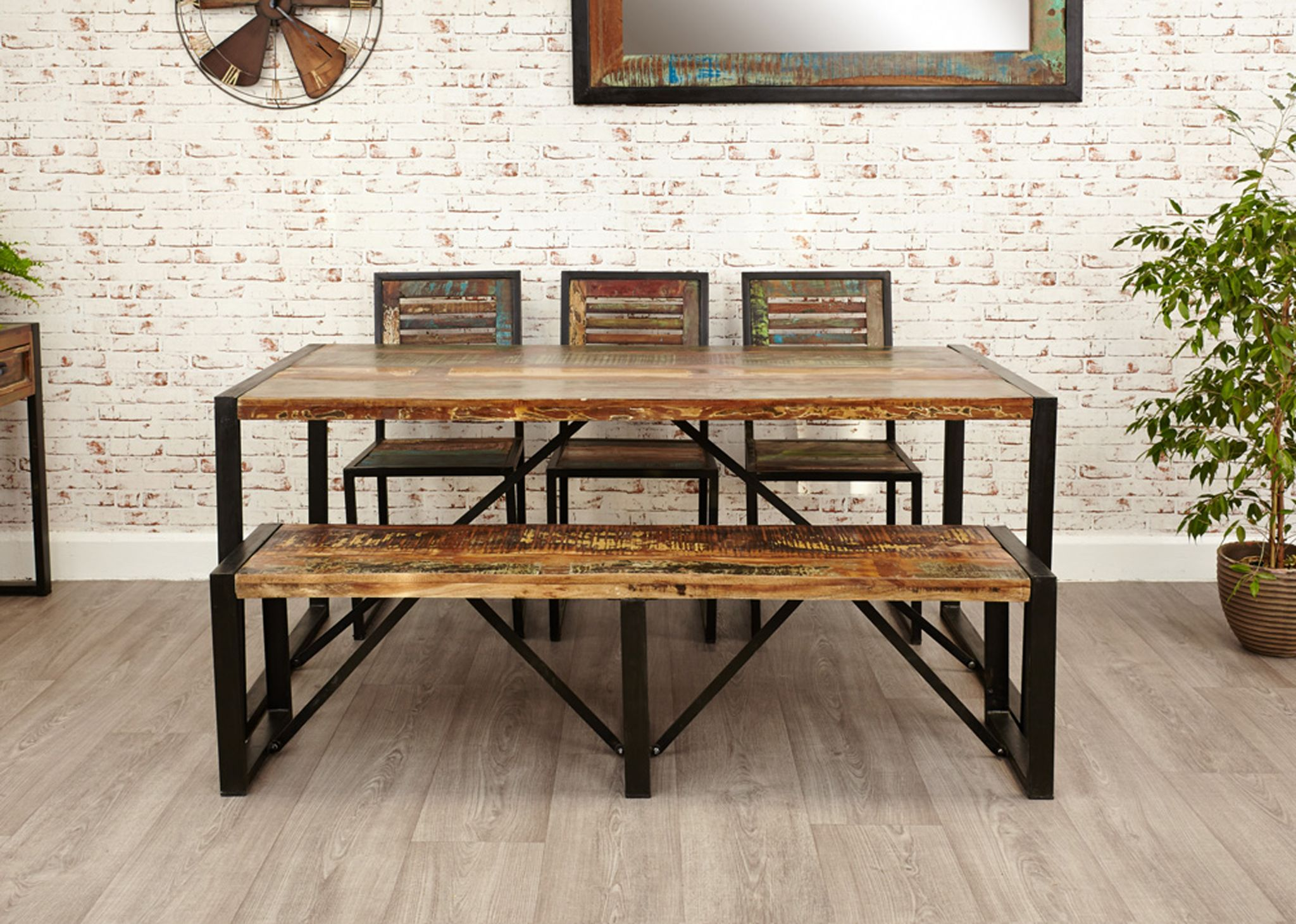 Urban Chic Reclaimed Wood and Metal Large Dining Table, Chair and ...